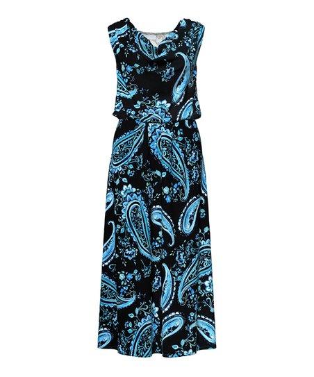 b9e73a6f571 Bella Floré Black   Turquoise Paisley Cowl Neck Blouson Maxi Dress ...