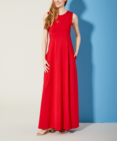 4aa4cbefa1a1 love this product Red Empire Waist Scuba-Knit Maxi Dress - Women & Plus