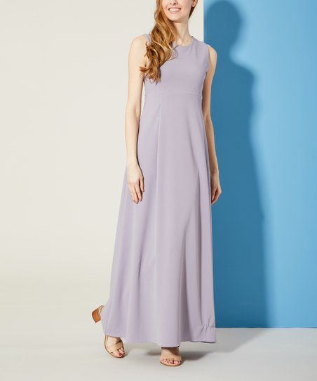 15c0fb4c53ec Bella Floré Lavender Empire Waist Crepe-Knit Maxi Dress - Women | Zulily
