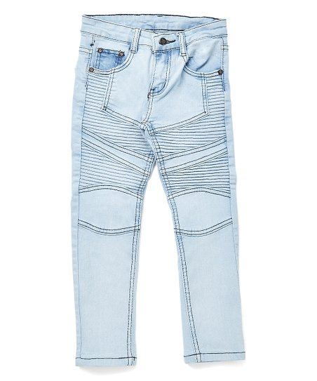 0e3b4cef9 One Point One Faded Light Blue Distressed Moto Skinny Jeans - Boys ...