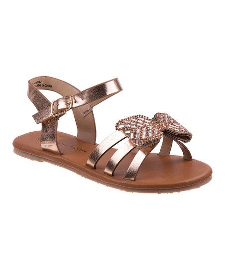 f363739d5 Nanette Lepore Girls Rose Gold Rhinestone Bow Sandal - Girls
