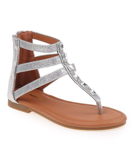 f3b2bc72d7 love this product Silver Glitter Rhinestone-Accent Gladiator Sandal - Girls