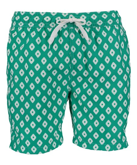 3b1316e0cfb2 Kanu Surf Green Geometric Capri Swim Trunks - Men | Zulily