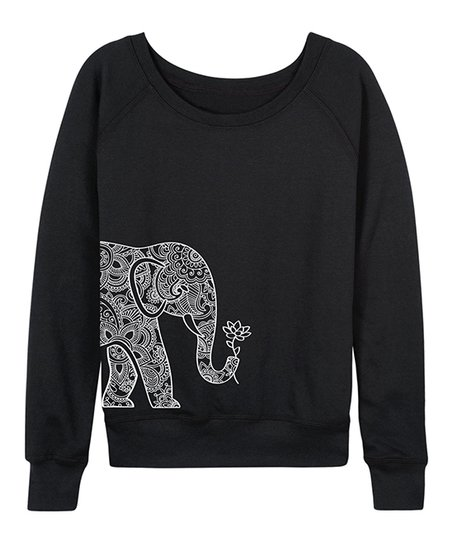 c0ad3a462324da Instant Message Womens Black Elephant Holding Lotus Slouchy Pullover ...