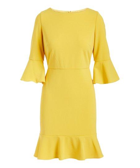 120a7201ab Nine West Sunbeam Ruffle-Skirt Scuba Crepe Bell-Sleeve Dress | Zulily