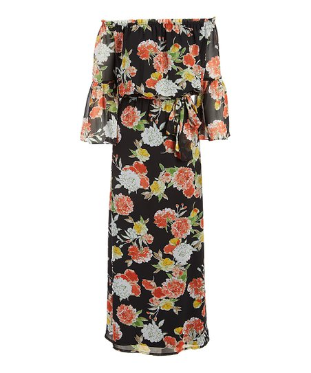 b83a3c4e0c love this product Black   Papaya Floral Self-Sash Off-Shoulder Maxi Dress -  Women
