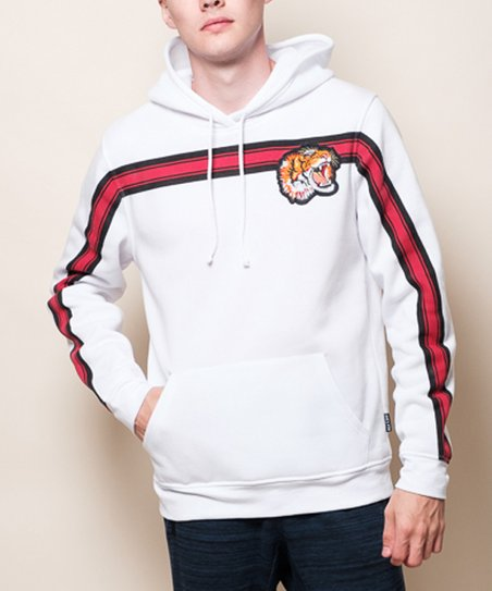 51d8d32b5 love this product White & Red Chest-Stripe Tiger-Appliqué Fleece Hoodie -  Men