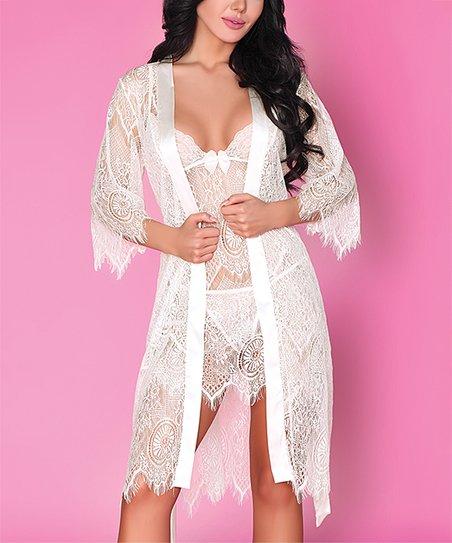 3b409f305996 LivCo Corsetti Fashion White Lace Sheer Reve Blanc Robe Set - Women ...