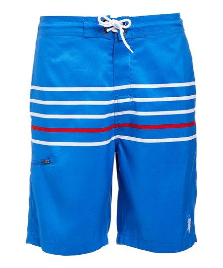 9199715297 U.S. Polo Assn. Blue & White Stripe Boardshorts - Men | Zulily