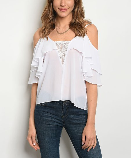 dfda0570f2094 love this product White Ruffle-Sleeve Cold Shoulder Top - Women