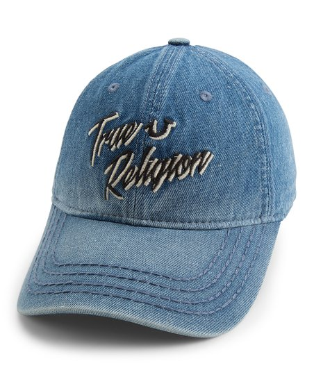 395da39f True Religion Indigo Retro Script Denim Baseball Cap | Zulily