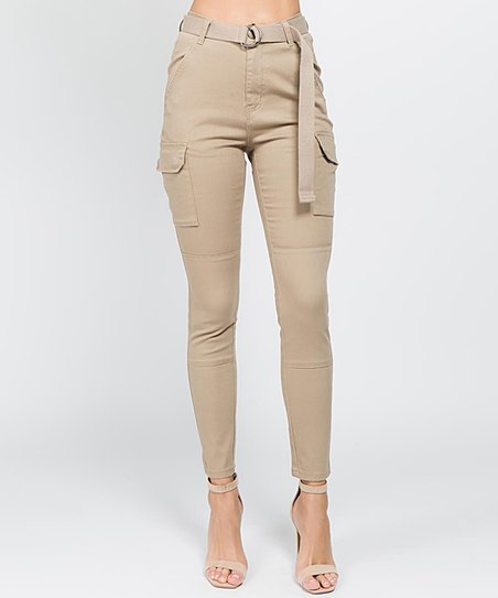 24fb68b338a love this product Khaki Cargo-Pocket High-Waist Skinny Pants   Belt - Women