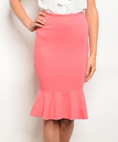 8adcf673a The Balec Group Peach Ruffle-Hem Pencil Skirt - Women | Zulily