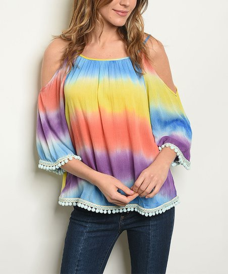 The Balec Group Tie Dye Pom-Pom Accent Cold Shoulder Top - Women ... a8ed2ca3e7