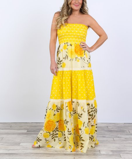 Coco & Main Yellow Floral Strapless Maxi