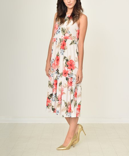 egs by éloges Ivory Floral Tiered Midi Dress - Women  2cf6b16383