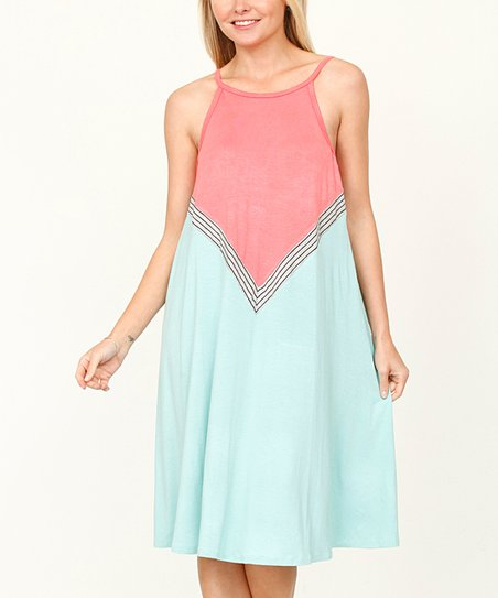 c7bb75c517e egs by éloges Coral   Mint Color Block Halter Dress - Women   Plus ...