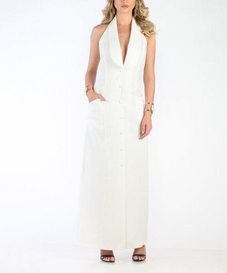 dbc173282ad Carla by Rozarancio White Halter Button-Up Maxi Dress - Women