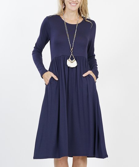 f5d497464be love this product Navy Long-Sleeve Shirred Empire-Waist Pocket Dress - Women    Plus