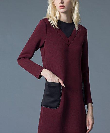 b0663d69a1fe love this product Wine Color Block Pocket Midi Dress - Women