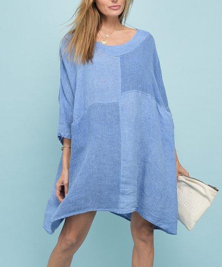 9d519532db Rodier Paris Blue Asymmetrical Seam Linen Tunic