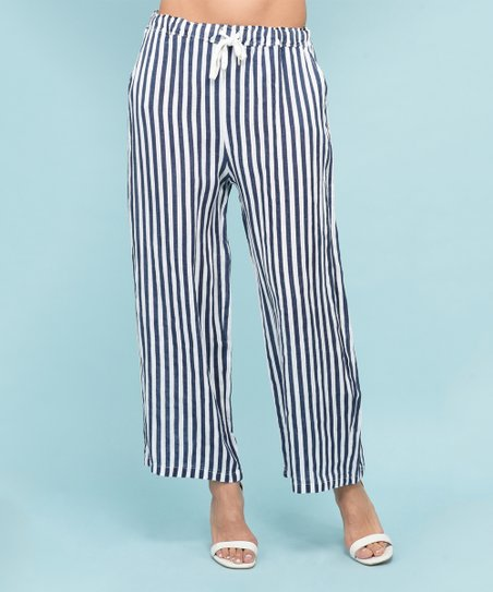 c570aac9d5 Rodier Paris Blue Stripe Linen Palazzo Pants - Women | Zulily