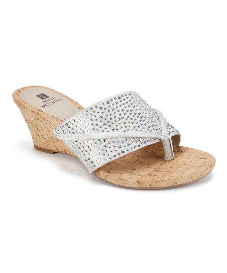 ea1f0629069720 love this product Silver Rhinestone-Strap Alexandria Wedge Sandal - Women