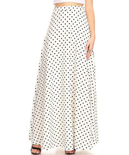 c44392795 love this product White & Black Polka Dot Maxi Skirt - Plus
