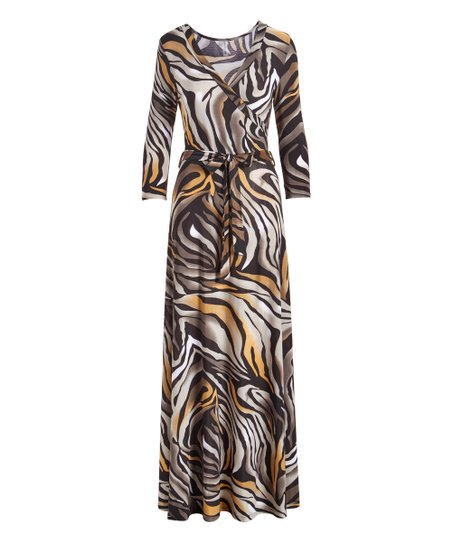4aa38e9cf62 love this product Black   Orange Tiger Stripe Three-Quarter Sleeve Maxi  Dress - Women