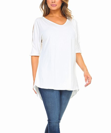 290c0ccf0ae Isaac Liev Ivory Shoulder-Cutout V-Neck Tunic | Zulily