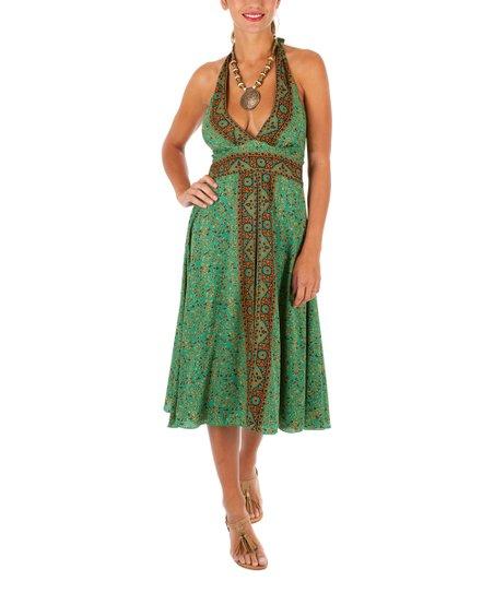 69a08f8a5354 Aller Simplement Green   Black Floral Halter Midi Dress - Women