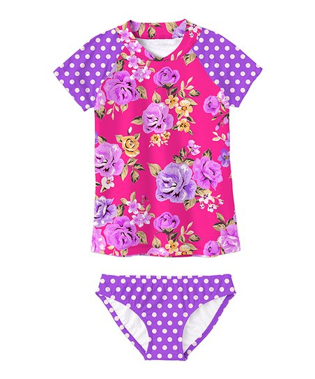 76226304eb6ef love this product Purple   Hot Pink Floral Rashguard Set - Toddler   Girls