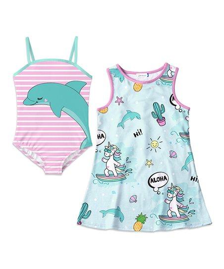 f12cb0e74c2e6 Sunshine Swing Pink   Turquoise Dolphin One-Piece   Unicorn Cover-Up ...