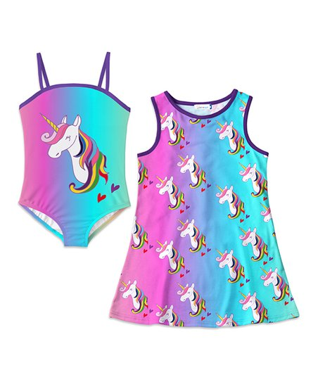 8180f35a6a569 love this product Pink   Turquoise Unicorn One-Piece   Cover-Up - Toddler