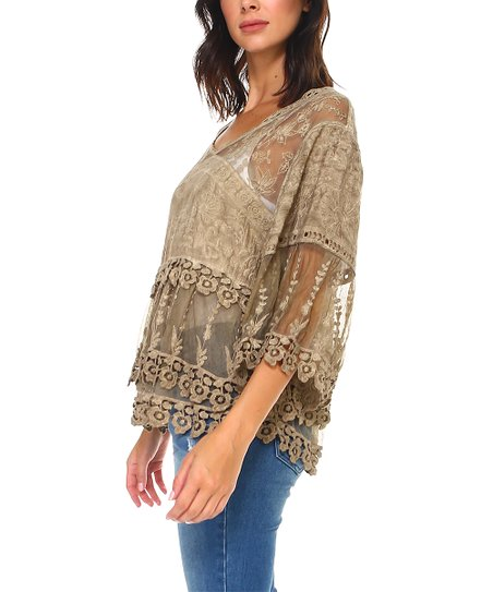 648996edd430e0 Morning Apple Khaki Monroe Lace Overlay Top - Women   Zulily