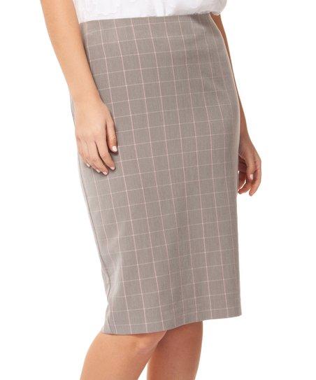 fd93b48336 love this product Gray & Pink Windowpane Pencil Skirt