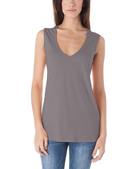 5bbc8ce4d4ad2 A to Z Charcoal Wide-Strap Sleeveless Top - Women
