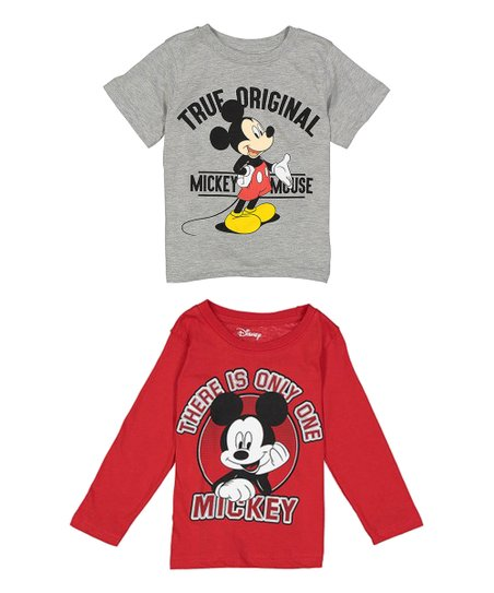 f6a65bb6a340 Childrens Apparel Network Mickey Mouse Red & Gray Tee Set - Toddler ...