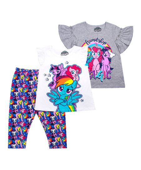 536ba5e4c love this product My Little Pony Gray 'Friendship Is Magic' Ruffle-Sleeve  Tee Set - Toddler