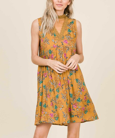 ff48018a97a4 love this product Mustard Floral Mesh Turtleneck Midi Dress - Women