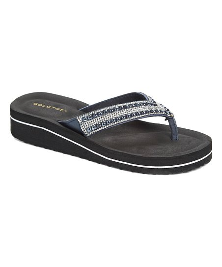 636c96a9e7c7e love this product Navy Rhinestone Thin-Strap Wedge Thong Sandal - Women