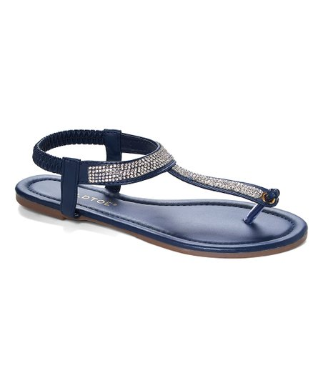 cf3fd52b5f1a2 love this product Navy Rhinestone T-Strap Thong Sandal - Women