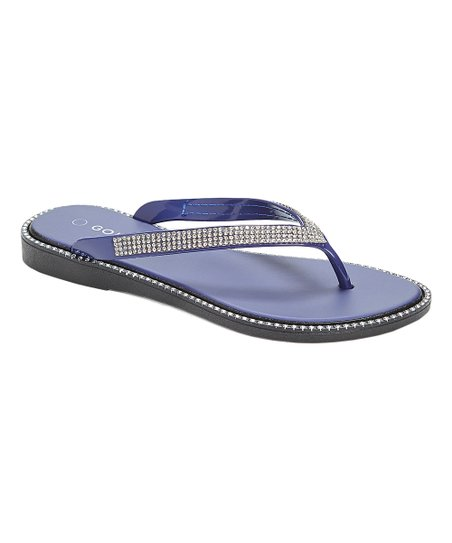 2d3a906703f62 love this product Navy Rhinestone Flip-Flop - Women