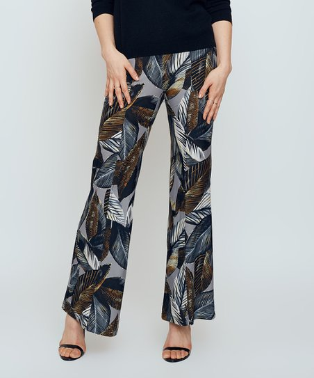 Gray & Navy Leaf Cartier Pants - Women   Zulily
