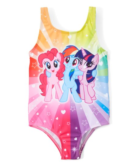 c46205d30 Dreamwave Apparel My Little Pony Rainbow Stripe One-Piece Bathing ...