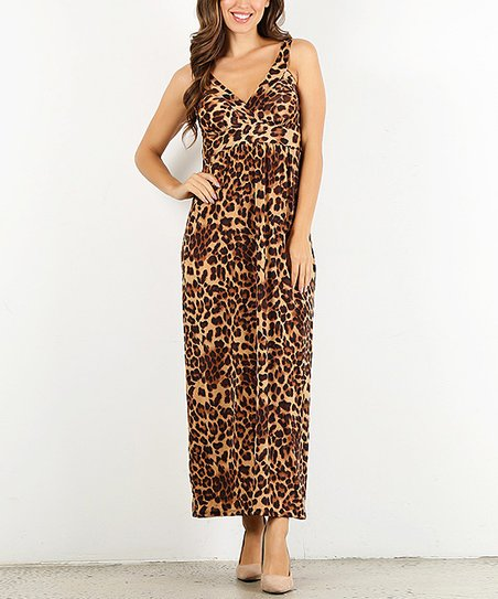 a0507dec64 Pretty Young Thing Brown Leopard Print V-Neck Maxi Dress - Women ...