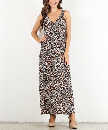 Pretty Young Thing Brown Animal Print V-Neck Maxi Dress - Women  6a4f8246cd