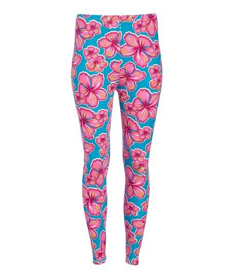 fd5d8379a2 Two Left Feet Sock Co. Pink   Blue Happy Hibiscus Leggings - Women ...
