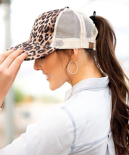 cd73b7599b2f5 C.C® Leopard Ponytail Trucker Hat