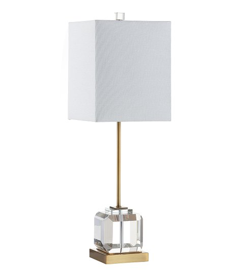 White Square Crystal Base Table Lamp, Crystal Square Base Table Lamp